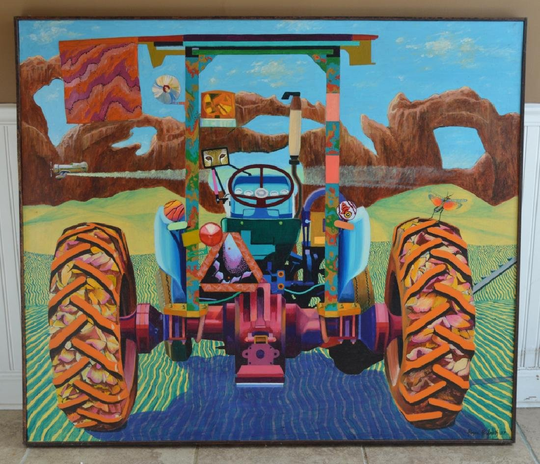 Tractor with Cheetah Oil on Canvas by Roger Smith