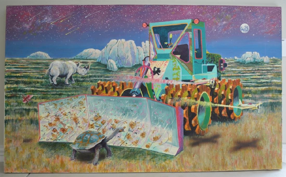 Compactor with Rhino Oil on Canvas by Roger Smith