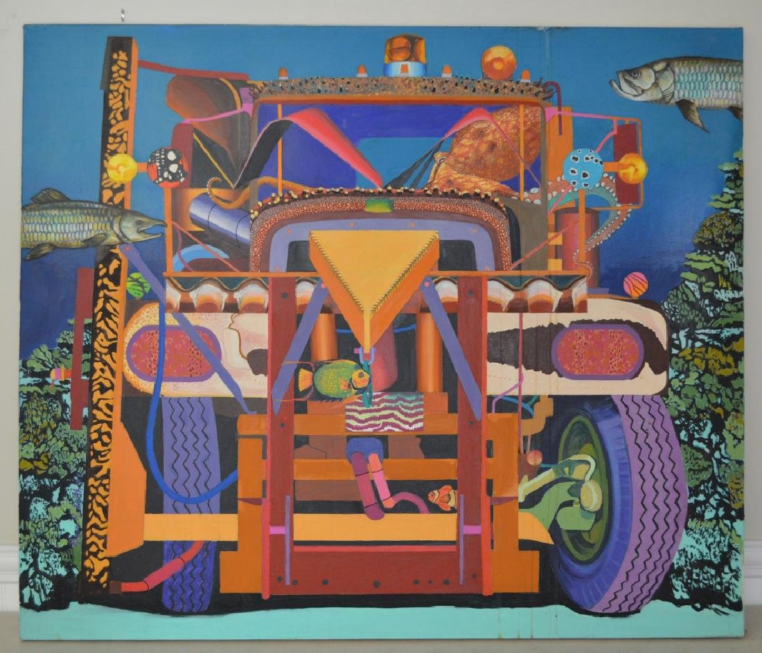 Truck with Octopus Oil on Canvas by Roger Smith