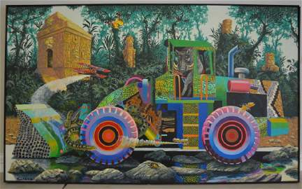 Loader with Warthog Oil on Canvas by Roger Smith
