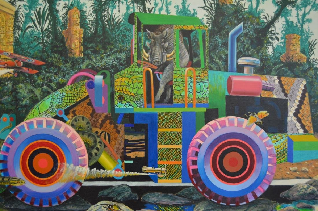 Loader with Warthog Oil on Canvas by Roger Smith - 3
