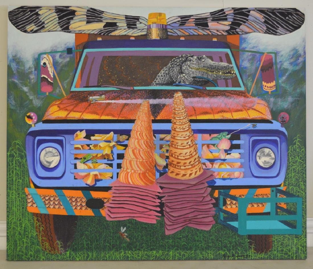 Truck with Alligator Oil on Canvas by Roger Smith