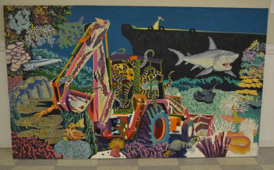 Backhoe with Shark Oil on Canvas by Roger Smith
