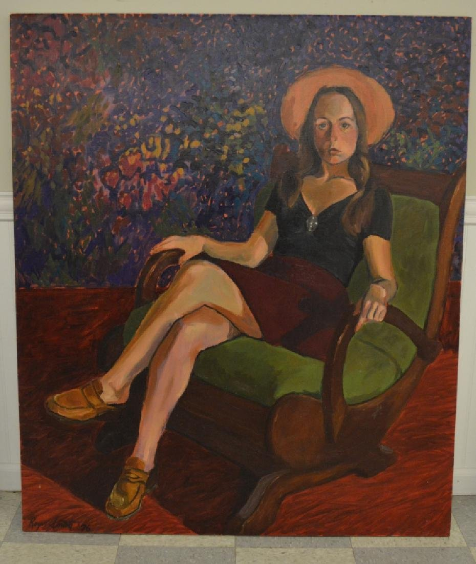 Lady in Rocker Oil on Canvas by Roger Smith