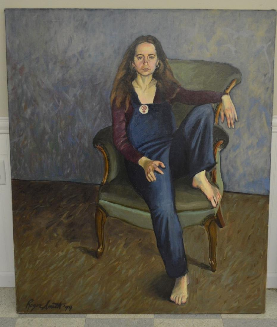 Girl in Overalls Oil on Canvas by Roger Smith
