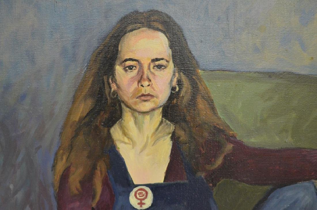 Girl in Overalls Oil on Canvas by Roger Smith - 3