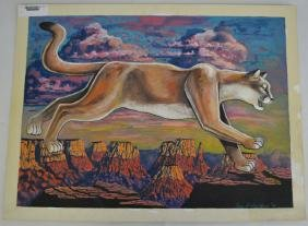 Cougar in the Dessert Painting by Roger Smith