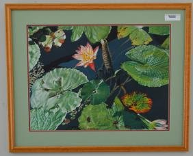 Framed Watercolor of Lilly Pads by Roger Smith