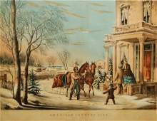 3 American Country Life Pleasures of Winter 1855 Co