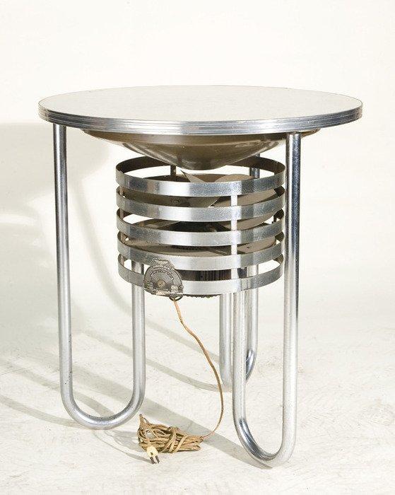 117: Vintage Art Deco Cigar Table with Chrome Tube Base