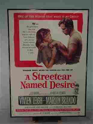 """A STREETCAR NAMED DESIRE"" Framed Movie Poster"