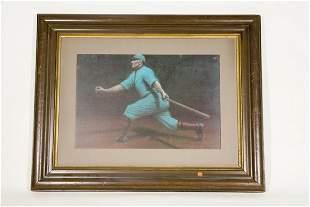 Vintage Framed Art Deco Style Swinging Baseball Pl