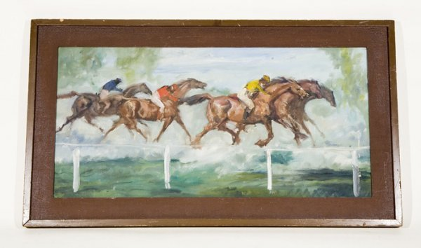 663: Impressionist Horse Racing Painting