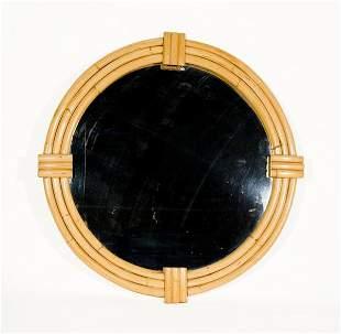 """Vintage 42"""" Round Rattan Mirror"""