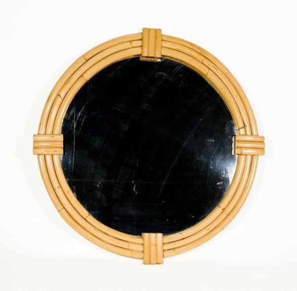 """664: Vintage 42"""" Round Rattan Mirror"""