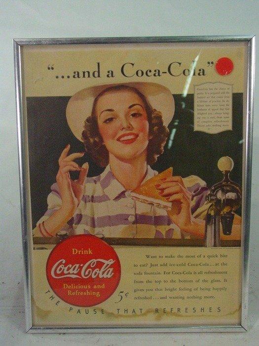 651A: Small Chrome Framed Coca Cola AD  with Milk Shake