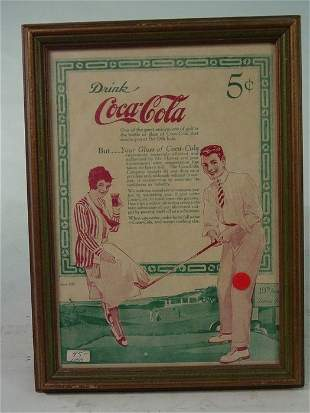Small 1920's Style Framed Coca Cola AD