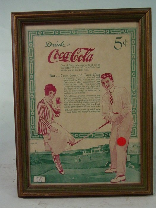 652A: Small 1920's Style Framed Coca Cola AD