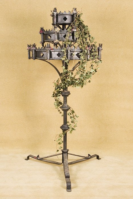 654A: Vintage Frestanding Medieval Gothic CandeLabra wi