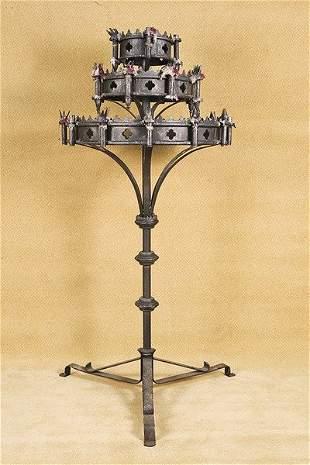 Vintage Frestanding Medieval Gothic CandeLabra