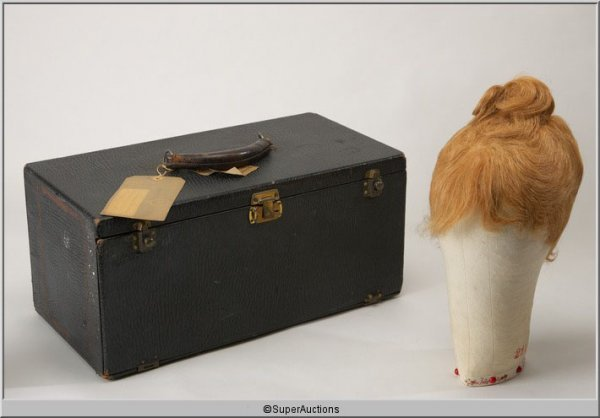 15: Billie Burke Wig, Wig Head Block and Carrying Case