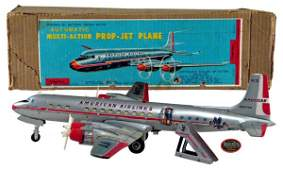 """4: 1950s Tin B/O Cragstan """"American Airlines DC–7C Pass"""