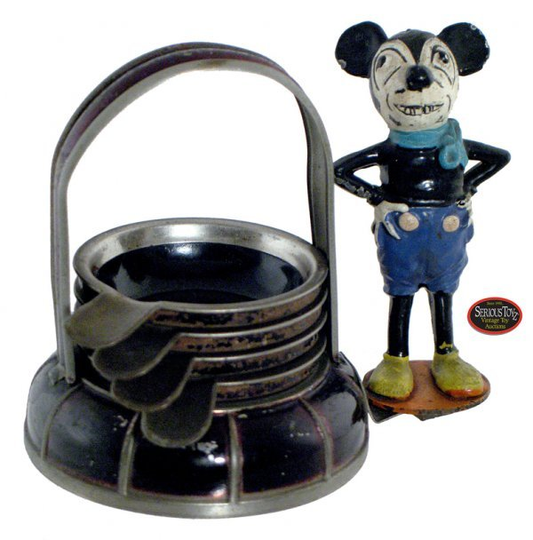 "8: 1930s British-Style ""Mickey Mouse"" Cast Iron Ash Tra"