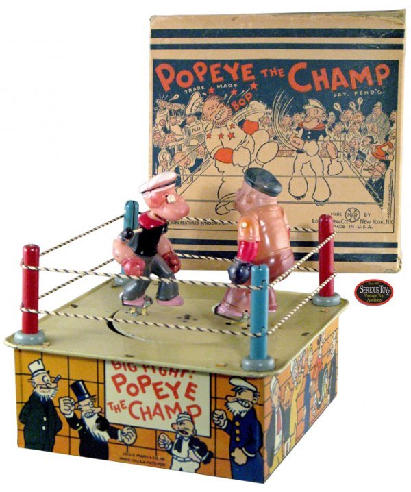 "9: 1936 Marx Tin & Celluloid ""Popeye The Champ"" in Box"