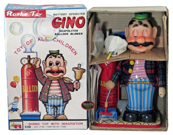 "24: 1960s Japan Tin B/O ""Gino, Neapolitan Balloon Blowe"