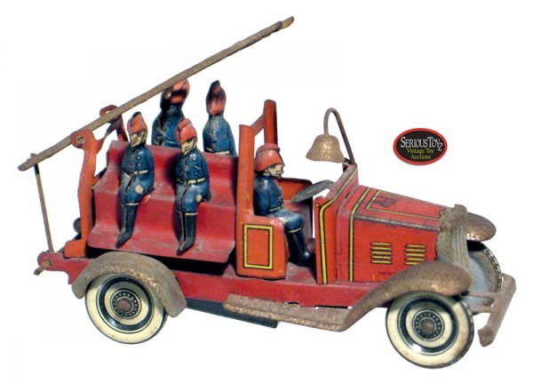 "69: 1920s German Tin Wind-up ""5 Man Ladder Fire Truck"""