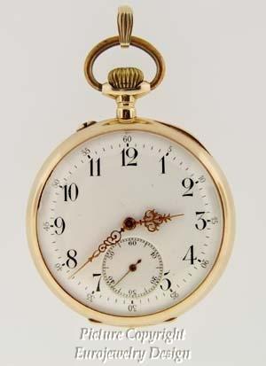 011: Estate 14kt Gold Open Face Pocket Watch 1900th