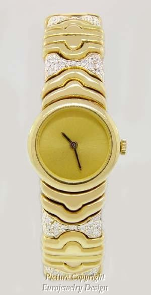013: 18kt Yellow Gold Ladies Watch with Diamonds