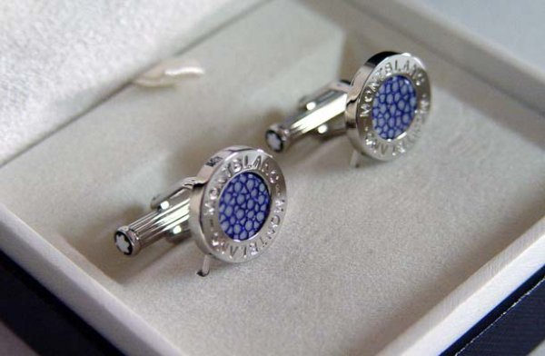 229: Montblanc Elegance Blue Stingray Cufflinks - 2