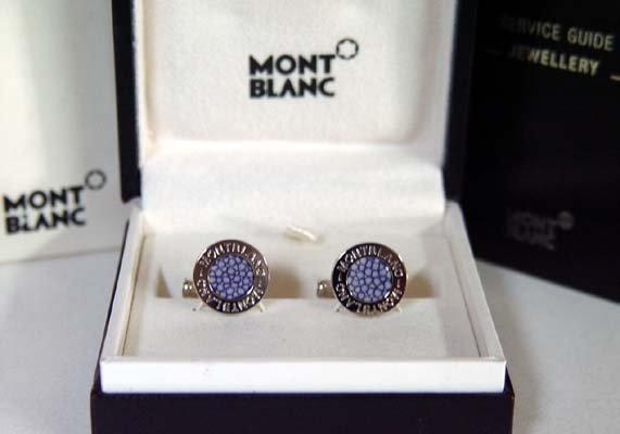 229: Montblanc Elegance Blue Stingray Cufflinks - 4