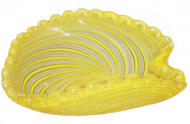 6: Yellow Latticino Scalloped Edged Bowl By Toso