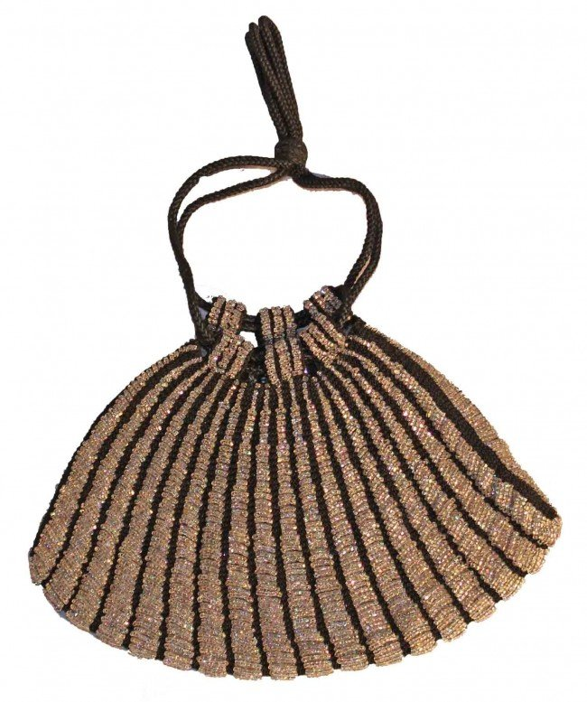 11: Irridescent and Black Striped Beaded Bag