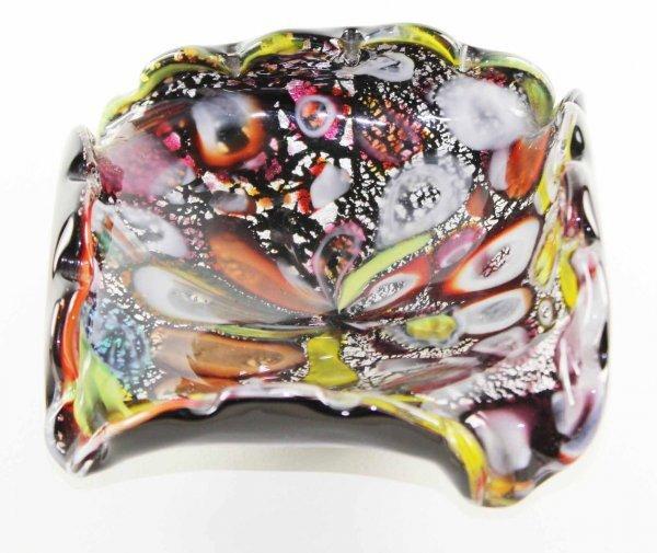 16: Mid-Century Tutti Frutti Glass Dish w/ Ruffled Edge