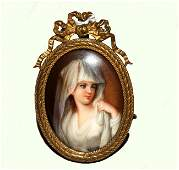 2: Hand Painted Miniature Porcelain Portrait