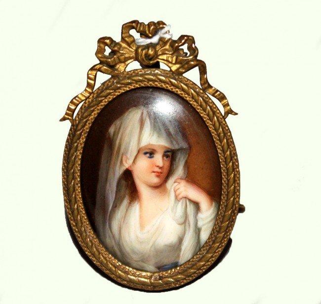 2: Hand Painted Miniature Porcelain Portrait