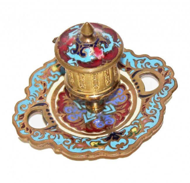22:  Champleve Inkwell & Blotter