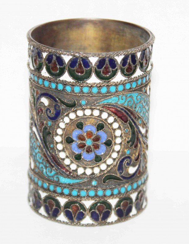13: Silver Russian Enamel Cup