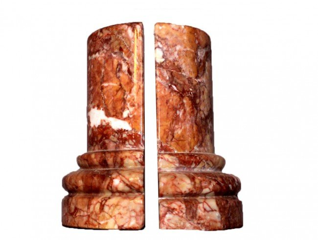 2: Pair of Salmon Marble Bookends