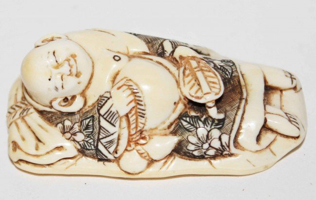 5: Japanese Ivory Netsuke of Sleeping Buddha