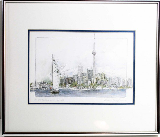 14: Framed Pen and Ink Drawing of the Toronto Skyline