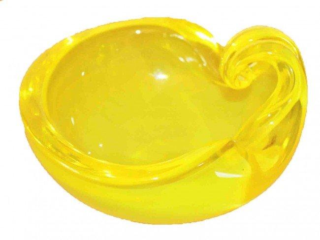 34: Rare Barbini Uranium Lemon Yellow Shell Dish