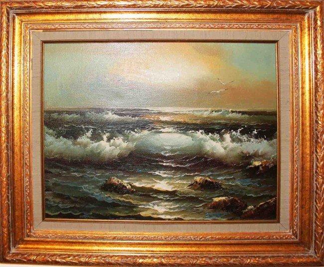 54: Framed Claude Terray Oil Seascape