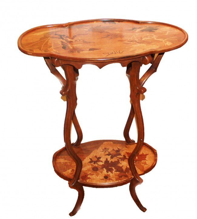 299: Galle Marquetry Art Nouveau two-tier table