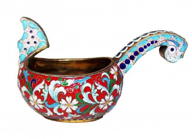 6: Russian Silver Enamel Kovsh