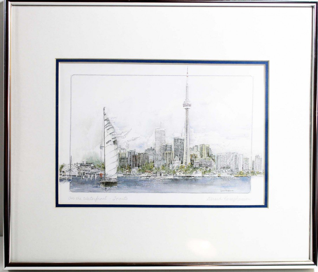10: Framed Pen and Ink Drawing of the Toronto Skyline