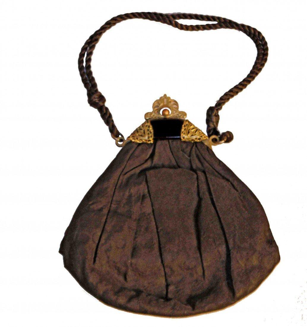 24: 19th Century Black Taffeta Purse